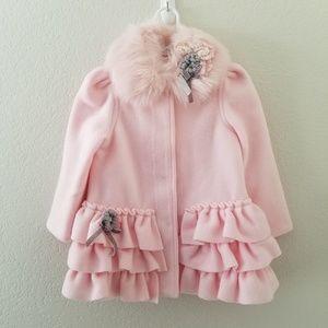 NWT Kate Mack & Biscotti Girls Sz Pink Fleece Coat